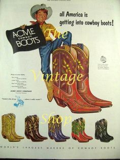 Acme Cowboy Boots1950s Vintage Advertising by thevintageshop