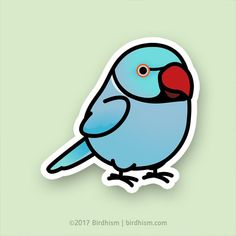 Chubby Blue Indian Ringneck Parakeet Stickers