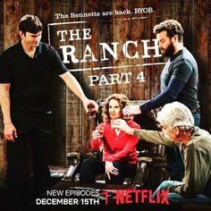 Sam Elliott, Debra Winger, Ashton Kutcher, and Danny Masterson in The Ranch The Ranch Tv Show, Kelli Goss, Debra Winger, Sam Elliott, Ashton Kutcher, 4 News, Shows On Netflix, Favorite Tv Shows, Movie Tv