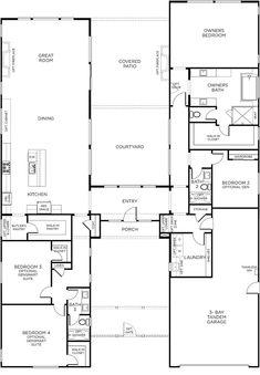 Flip garage to other side and add door between garage and pantry Ranch Floor Plans, Duplex Floor Plans, Modern House Floor Plans, Unique Floor Plans, Barndominium Floor Plans, Home Design Floor Plans, Dog Trot House Plans, Barn House Plans, Family House Plans