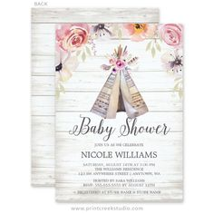 Rustic flower tribal boho girl baby shower invitations. Chic watercolor flowers, feathers and teepee in soft pinks, greens and tans.