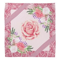 Rose Peony Blush Pink Purple Ribbons Floral Bandana - floral style flower flowers stylish diy personalize