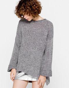 Prążkowany sweter oversize - Dzianina - Odzież - Dla Niej - PULL&BEAR Polska