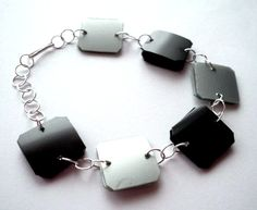 Minimalist ecofriendly bracelet made of recycled plastic bottles - black & silver, industrial, modern - upcycled jewelry, sustainable via Etsy Plastic Earrings, Recycle Plastic Bottles, Bracelet Making, Black Silver, Recycling, Eco Friendly, Minimalist, Unique Jewelry, Bracelets