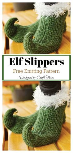 The Elf Slippers Free Knitting Pattern is absolutely adorable because these knitted slippers look just like the elf shoes in all the classic Christmas movies.Patron Elf Pantoufles Gratuit … - Tricot et Crochet Knitting Terms, Love Knitting, Knitting Socks, Knitting Patterns Free, Knit Patterns, Baby Knitting, Knitting Ideas, Knitting Tutorials, Stitch Patterns