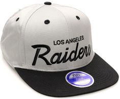 0ea7e892425 Los Angeles Raiders Flat Bill Script Style Snapback Hat Cap Light Gray  Black Los Angeles Raiders