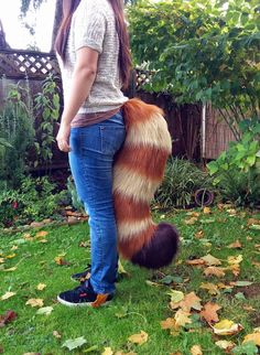 This huge red panda tail features all sewn markings and 3 colours of fantastic long pile fur! Tail is pictured on a 56 model. This tail has a