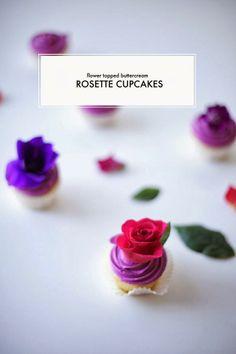 Flower-topped buttercream rosette cupcakes are a lovely Valentine's treat.