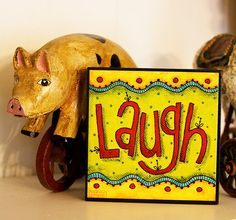 LAUGH - Art Block - Christian - Inspirational - Stackable - Wall Decor- 4x4