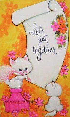 Let's Get Together - Vintage Greeting Card.