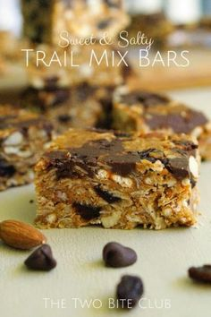 Sweet and Salty Trail Mix Bars Recipe made with pretzels, chocolate chips, raisins and nuts.