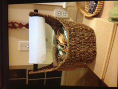 This is a GREAT idea!!! It's a Thirty One magazine basket used in the kitchen for paper towels and dish towels.