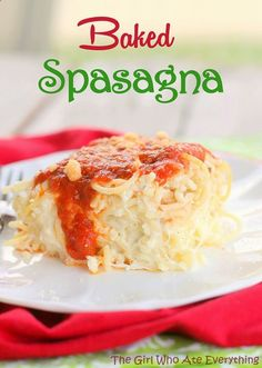 Baked Spasagna. Is it spaghetti? Is it lasagna? Its both! Its spaghetti mixed with the cheesy mixture and flavors of lasagna and baked. The Girl Who Ate Everything #recipe #dinner