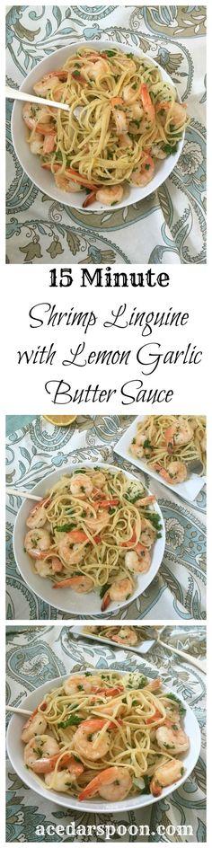 15 Minute Shrimp with Lemon Garlic Butter Sauce: light, easy and full of flavor // A Cedar Spoon