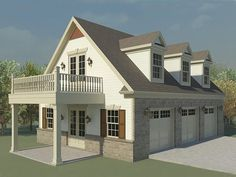 Garage plans with lofts and loft garage designs typically feature storage for one to three cars with loft storage above. View this collection of garage designs with loft storage. 3 Car Garage Plans, Garage Plans With Loft, Loft Plan, Garage Apartment Plans, Garage Apartments, Garage Ideas, Garage Guest House, Carriage House Garage, Garage With Living Quarters