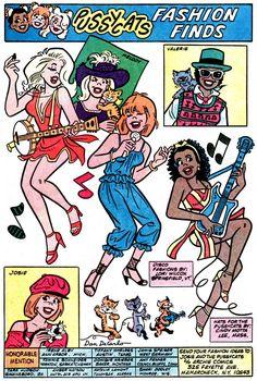 MELODY'S FASHIONS. Occasionally featured in the comic, these pages showed off Dan DeCarlo's pretty drawing style and sense of fashion drawing (readers often suggested the designs). Archie Comics Characters, Archie Comic Books, Vintage Comic Books, Vintage Comics, Comic Books Art, Comic Art, Archie Comics Riverdale, Pulp Fiction Comics, Betty & Veronica
