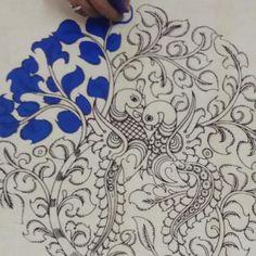 Modern Paintings, Indian Art Paintings, Drawing Sketches, Sketching, Art Drawings, Mughal Miniature Paintings, Kalamkari Designs, Kalamkari Painting, Kerala Mural Painting