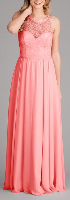 What's not to love about this stunning lace and chiffon bridesmaid dress in coral? Available in 9 other colors! | Kennedy Blue Delilah