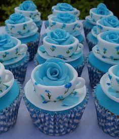 Blue Rose Tea Cup Cupcakes by ViVi Antoinette