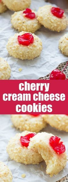 The BEST Cherry Cream Cheese Cookies! My family bakes these every year at Christ The BEST Cherry Cream Cheese Cookies! My family bakes these every year at Christmas! They are melt-in-your-mouth good! Cookie Desserts, Just Desserts, Cookie Recipes, Delicious Desserts, Dessert Recipes, Xmas Cookies, Yummy Cookies, Tea Cakes, Cream Cheese Cookies