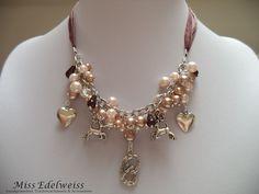 *HANDMADE* Kette Halskette braun beige Perlen Wiesn Tracht Dirndl Oktoberfest
