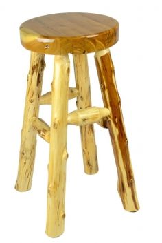A rustic, natural bar stool perfect for those Minnesota cabins and rustic décor. Shown with a liquid glass seat top for added durability and easy clean-up. Peters Billiards Minneapolis | Kitchen Stools and Bar Stools