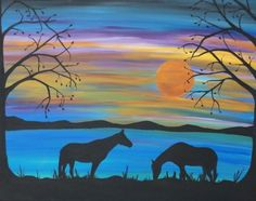 This original silhouette horses and stunning sunset landscape painting was created with acrylic colors on a 24x30 x1.5'' framed cotton canvas and finished with a varnish to protect it plus adds to the finished effect. The sides are painted black the front initialed and the back signed.  I love the sunset colors or this landscape sky.