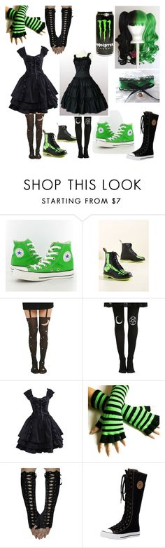 """Aliyahs Monster Lolita Outfit."" by mewmewchan ❤ liked on Polyvore featuring Converse, cutekawaii and Dr. Martens"