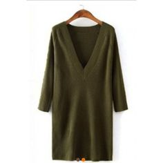 """NWT Army green v-neck ribbed sweater dress Classic, luxuriously soft sweater dress. It features plunging V-neckline, 3/4 long sleeveless, above knee length, and casual loose fit. The pure color sweater dress is super fashionable and comfortable to wear. Approx 32"""" in length. Boutique Dresses Long Sleeve"""
