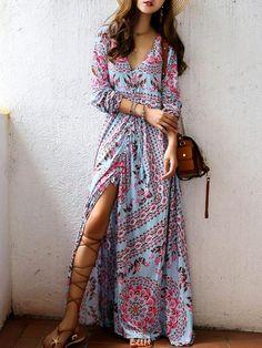 V-neck 3/4 Sleeves Floral Print Split-Front Beach Maxi Bohemian Dress