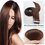 SHOWJARLLY Seamless Remy Tape in Hair Extensions Real Human Hair 22inch Straight #4 Chocolate Brown Tape on Skin Weft Hair Extensions (50g,20Pcs)