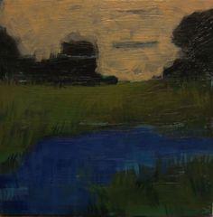 """Memory #52 - Original Acrylic Oil Encaustic Landscape - 10""""x 10"""""""