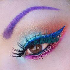 Purple brow, blue eyeliner and pink lower lash line  Sugarpill makeup
