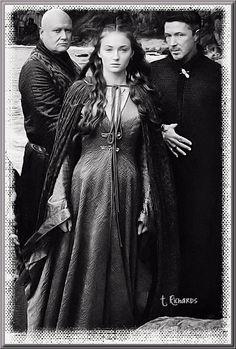 S4 Promotional Shoot ~ Varys (Conleth Hill), Sansa (Sophie Turner), and Littlefinger (Aiden Gillen)