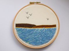 Seascape embroidered art by Hextrovert on Etsy, Needlework, Coin Purse, My Etsy Shop, Embroidery, Creative, Fabric, Pattern, Prints, How To Make