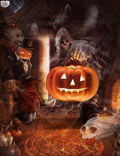 Artist: Shin Tae Sub aka - Title: Unknown - Card: Earl of the Spectres… Samhain Halloween, Halloween Scene, Holidays Halloween, Scary Halloween, Vintage Halloween, Halloween Pumpkins, Halloween Rules, Halloween Garland, Halloween Night