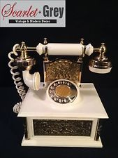 Vintage Novelty Radio Shaped like Rotary Phone w/ Metal Accents