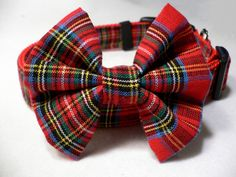 Christmas Dog Collar and Bow Tie Royal Stewart by dobeeubags