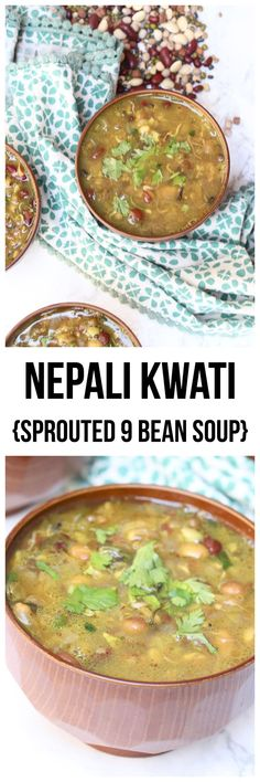 Nepali Kwati {Sprouted 9 Bean Soup} is a hearty soup made with 9 different sprouted beans for health & cultural reasons. It is a naturally gluten-free and plant-based dish! Best Gluten Free Desserts, Vegan Gluten Free, Vegetarian Dinners, Vegetarian Recipes, Best Chili Recipe, Using A Pressure Cooker, Bean Soup, Evening Meals, Plant Based Recipes