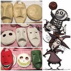 Shock, lock, & barrel masks from the nightmare before Christmas... 1st: make desired shape with foil. Then cover whole thing with masking tape. Cut out holes for eyes and add extra tape around eye holes. 2nd: Paper mache front and back of masks. (I did three layers on each mask.) Once it fully dries, paint all masks white. 3rd: Paint each mask it's rightful color & add details. & now it's complete!