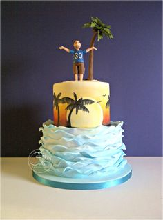 This cake presented a few more firsts for me. I used edible pigment dusts to brush on the sunset, and then free hand painted the palm trees over the top with edible paint. I kind of made the sugarpaste palm tree up as I went along, but was pleased. Luau Birthday Cakes, Luau Cakes, Ocean Cakes, Birthday Cakes For Men, Party Cakes, Beach Themed Cakes, Beach Cakes, Palm Tree Cakes, Palm Trees