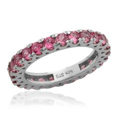 Liquidation Channel | Mahenge Rose Spinel Eternity Ring in Platinum Overlay Sterling Silver (Nickel Free)