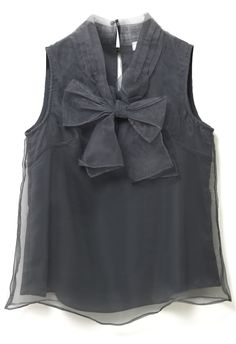 Bowknot Sleeveless Organza Top in Smoke - Short Sleeve - Tops - Retro, Indie and Unique Fashion