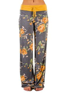 Elsofer Women's Pajamas Comfy Pajama Lounge Pants Floral Print Drawstring Wide Leg Palazzo Pants Floral Wide Leg Trousers, Wide Leg Palazzo Pants, Floral Pants, Wide Leg Pants, Comfy Pants, Lounge Pants, Casual Pants, Jogging, Yoga Fitness