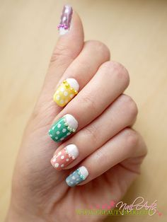 Half Moon Polka Dots Nail Art Tutorial