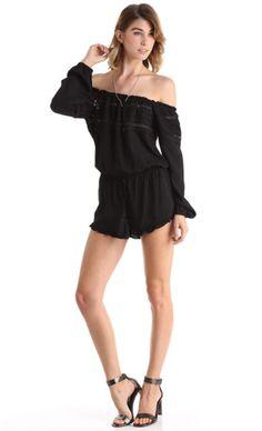 RUFFLED OFF THE SHOULDER CROCHET ROMPER - BLACK | PUBLIK | Women's Clothing & Accessories