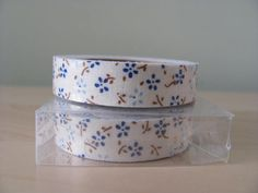Washi Tape Korean Fabric Deco Tape 4 Yards Pale Blue Navy Blue Babysbreath on White 1 Roll Gift Wrap Scrapbooking Supplies Blue Flowers Trim...