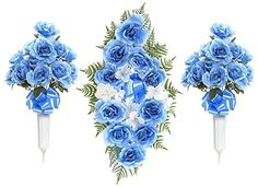 Teters Memorial CMB0002BLCOM 26 Rose Headstone Spray and 24 Cemetery Vase Combination Blue * Learn more by visiting the image link.