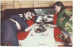 Old Chinese Postcard depicting opium smoking
