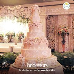 """@thebridestory's photo: """"Romantic and sweet mood on this pretty 7-tier wedding cake, adorn with pattern and flowers detailing in light pink color. Cake by our vendor of the week for wedding cake category @lenovellecake.  Visit www.bridestory.com to know more about Le Novelle and their amazing portfolio."""""""
